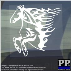 Horse Flame-Vinyl Sticker-Car Window Graphic Decal Sign Animal,Cart,Ride,Racing